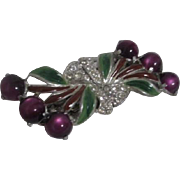 Coro Duette Purple Moonstones and  Rhinestone Brooch Fur Clips