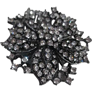 Japanned Rhinestone Brooch Flower Shape