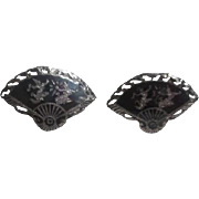 Pair of Siamese Niello over Sterling Silver Fan Shaped Cufflinks