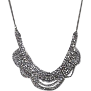 Rhinestone Necklace on Silvertone Chain by Aldo