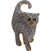 Rhinestone Cat Pin/Brooch with Green Eyes