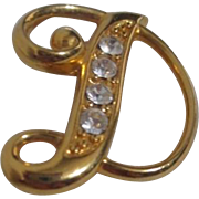 "Gold Tone Letter ""D""  Brooch/Pin with Rhinestones"