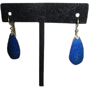 Royal Blue Enamel Drop Pierced Earrings with Goldtone Border by SHYW