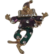 Unsigned 2 Piece Dancing Clown Brooch/Pin/Pendant with Rhinestones