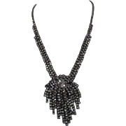 """Rhinestone Necklace with Large Center Cluster Signed """"C"""""""