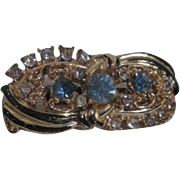 Unsigned Goldtone and Black Enamel Brooch with Blue and Clear Rhinestones