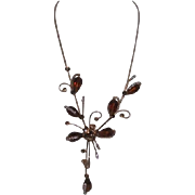 Unsigned Goldtone Necklace with Rhinestones and Brown Pear Shaped Beads