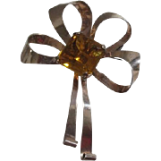 Sterling Brooch with Prong Mounted Yellow Square Stone