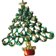 Green Openwork Christmas Tree Pin