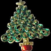 Green Openwork Christmas Tree Pin
