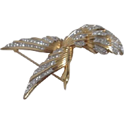 Flying Bird Brooch Gold Wash with Rhinestones on Feathers