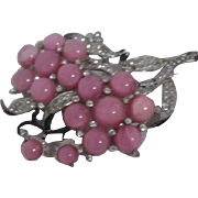 Pink Moonstone Flower Brooch/Pin with Rhinestone studded Leaves Black Enamel Trim