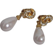 Pair of Gold Tone Snap-on Earrings with Faux Pearl and Rhinestones
