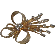 Sarah Coventry Brooch Ribbons and Rhinestones