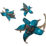 Three Piece Set of Brooch with Matching Clip-on Earrings.