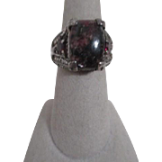 Sterling Silver Ring with Rhodomite Mounted Stone Small Rubies and Diamond Chips