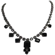 Rhinestone Necklace with Prong Mounted Black Pendants