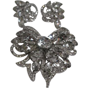 Early Eisenberg Demi Parure Diamonte Brooch and Clip Earrings