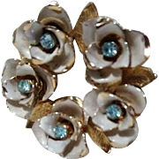 Coro Flower Wreath Brooch Blue Stones White Goldtone