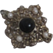 Pendant Pin with Black Stone and Faux Pearls Goldtone Filigree
