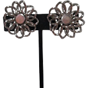 Coro Silvertone Screw-on Earrings Floral Pattern