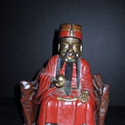 Antique Wood Hand Carved Chinese Man on a Bench