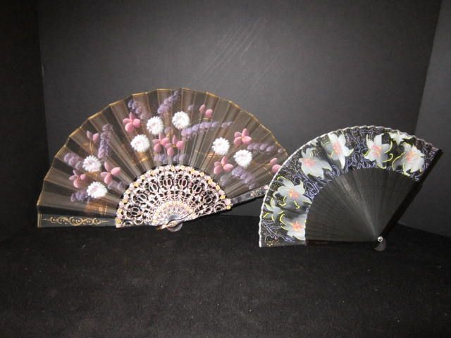 Vintage Hand Painted Fans (2)