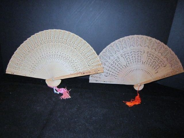 2 Vintage Sandalwood Decorative Fans