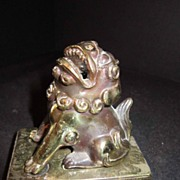 Vintage Foo Dog Metal Statue