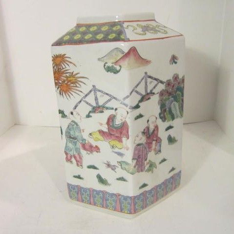 Vintage Oriental Porcelain Hand Painted  Hexagon Chinese Vase