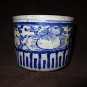 Antique Blue and White Pottery Bowl