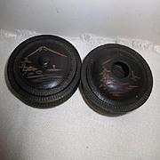 Vintage Japanese Wood Carved Vanity Set