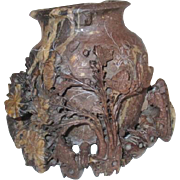 Hand Carved Soapstone Asian Vase and Flowers