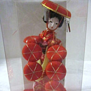 Vintage Small Geisha Doll with Many Fans