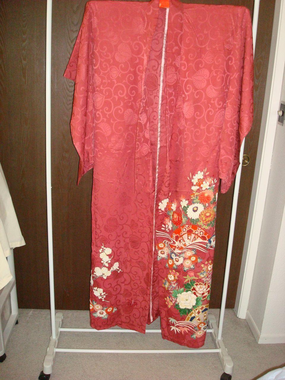 Vintage Japanese Wine Color Kimono