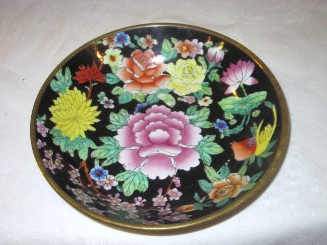 Vintage Chinese Ceramic Bowl -Set in a Brass Backing