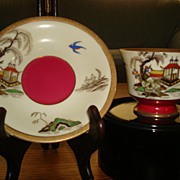 Vintage Japanese Hand Painted Corona Cup & Saucer-Made in Occupied Japan