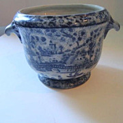Antique Chinese Blue & White Bowl with Handles