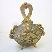 Vintage Oriental Hanging  Brass Bell with Dragon on Front