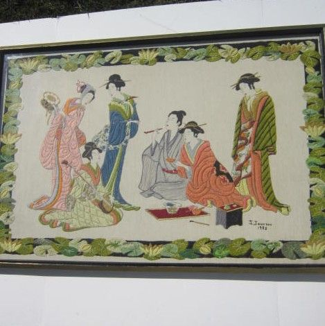 Vintage Japanese Entertainers and Couple Done in Crewel Work