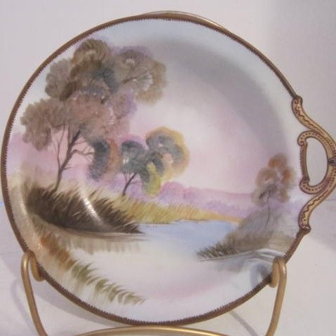 Vintage Single Handle Hand-Painted Oriental Bowl