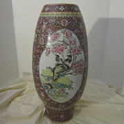 Vintage Porcelain Oriental Vase with Birds