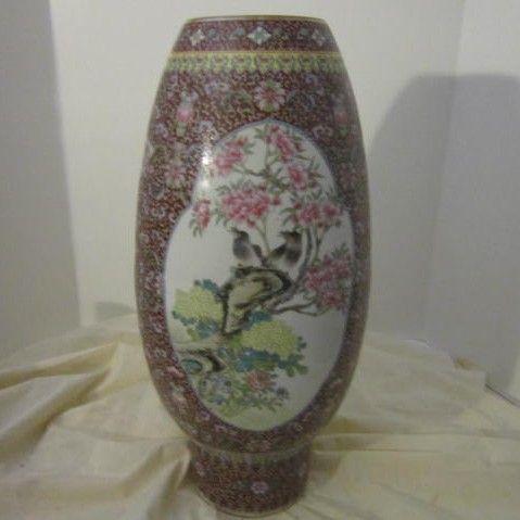 Vintage Porcelain Oriental Vase with Birds