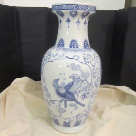 Vintage Oriental Porcelain Blue & White Vase