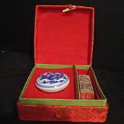 Vintage Chinese Box Set Carved soapstone Chop and Ink Pot