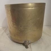 Vintage Oriental Brass Etched Footed Planter