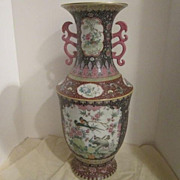 Vintage Chinese Large Vase with Cranes and Colorful Birds
