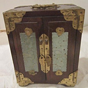 Vintage Wooden Jewelry/Music Box with Carved Stone Inlay