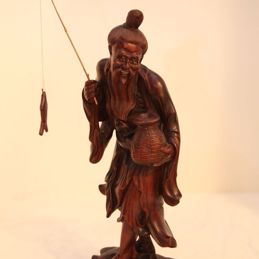 Vintage Chinese Wood Carving Of Fisherman With Fish From