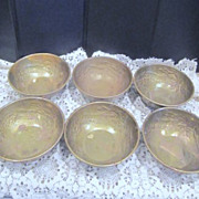 Set of 6 Brass Rice Bowls with Dragon Circling the Inside